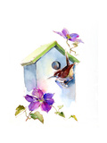 Wren with Birdhouse and Clematis  2016