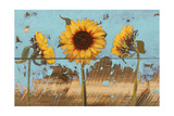 Sunflowers on Wood IV