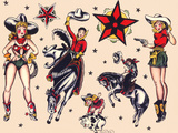 Cowboys & Cowgirls  Authentic Rodeo Tatooo Flash by Norman Collins  aka  Sailor Jerry