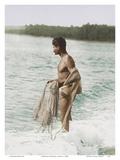 Hawaiian Fisherman (Lawai'a) with Throw Net