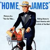 """Home  James"" Retro Whiskey Advertisement  Gentleman on Bicycle"