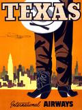 """Texas"" Vintage Travel Poster  International Airways"
