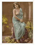 Classic Vintage French Nude - Hand-Colored Tinted Art