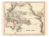 Pacific Ocean - Dower's General Atlas of the Earth Reproduction d'art par John Dower