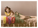 Young Topless Hawaiian Girl - Classic Vintage Hand-Colored Tinted Art