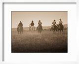 Sepia Effect of Cowboys Riding  Seneca  Oregon  USA