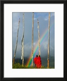 Rainbow and Monks with Praying Flags  Phobjikha Valley  Gangtey Village  Bhutan