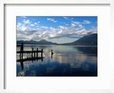 Morning on Lake Atitlan with Toliman Volcano  Panajachel  Solola  Western Highlands  Guatemala