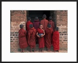 Young Monks in Red Robes with Alms Woks  Myanmar