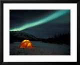 Camper's Tent Under Curtains of Green Northern Lights  Brooks Range  Alaska  USA