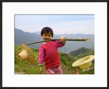 Young Girl Carrying Shoulder Pole with Straw Hats  China