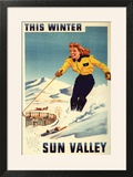 Sun Valley  Idaho - Red-headed Woman Smiling and Skiing Poster