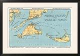 Massachusetts - Detailed Map of Martha's Vineyard and Nantucket Islands