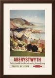 Aberystwyth  England - Aerial of Coast British Railways Poster