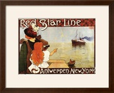 Antwerp  Belgium - Red Star Line Cruises to New York Promo Poster - Antwerp  Belgium