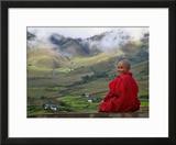 Monk and Farmlands in the Phobjikha Valley  Gangtey Village  Bhutan