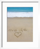 Beach on Fire Island  Ny with the Words 'Love Life' Written in the Sand