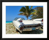 Classic 1959 White Cadillac Auto on Beautiful Beach of Veradara  Cuba