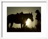 Cowboy With His Horse at Sunset  Ponderosa Ranch  Oregon  USA