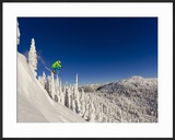 Jumping from Cliff on a Sunny Day at Whitefish Mountain Resort  Montana  Usa