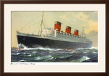 View of Cunard Ocean Liner Queen Mary