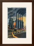 Pittsburgh  Pennsylvania - Steel Mill Scene at Night