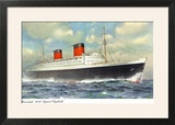 View of Cunard Ocean Liner Queen Elizabeth