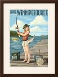 Lake Winnipesaukee  New Hampshire - Pinup Girl Fishing