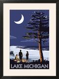 Lake Michigan - Bonfire at Night Scene