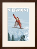 Vermont - Snowboarder Jumping