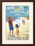 Lake Michigan - Children Flying Kites