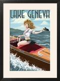 Lake Geneva  Wisconsin - Pinup Girl Boating