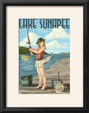 Lake Sunapee  New Hampshire - Pinup Girl Fishing