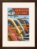 Huntington Beach  California - Woodies Lined Up