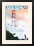 Golden Gate Bridge in Fog - San Francisco  California