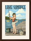 Lake Sunapee  New Hampshire - Pinup Girl Fishing