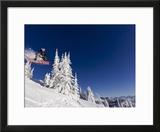 Snowboarding Action at Whitefish Mountain Resort in Whitefish  Montana  USA