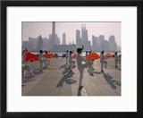 People Practicing Taiji and Pudong Skyline  Shanghai  China