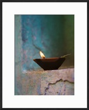 Lamp in a Little Shrine Outside Traditional House  Varanasi  India