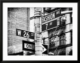 Signpost  Fashion Ave  Manhattan  New York City  United States  Black and White Photography