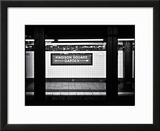 Subway Sign  Black and White Photography  Madison Square Garden  Manhattan  New York  United States