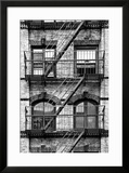 Fire Escape  Stairway on Manhattan Building  New York  White Frame  Full Size Photography