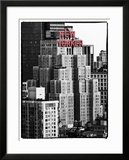 The New Yorker Hotel  Black and White Photography  Red Signs  Midtown Manhattan  New York City  US