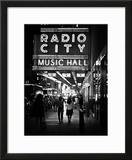 Urban Scene  Radio City Music Hall by Night  Manhattan  Times Square  New York  White Frame