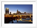 Twilight over the Cumberland River and Nashville  Tennessee  USA