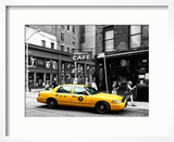 Urban Scene  Yellow Taxi  Prince Street  Lower Manhattan  NYC  Black and White Photography Colors