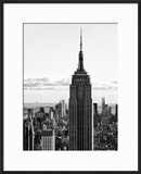 Empire State Building from Rockefeller Center at Dusk  Manhattan  NYC  Black and White Photography