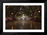 Forsyth Park Fountain with Spring Azaleas  Savannah  Georgia  USA