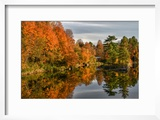 USA  Vermont  Morrisville Lake Lamoille Reflecting Fall Foliage