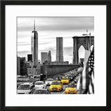 Yellow Taxi on Brooklyn Bridge Overlooking the One World Trade Center (1WTC)